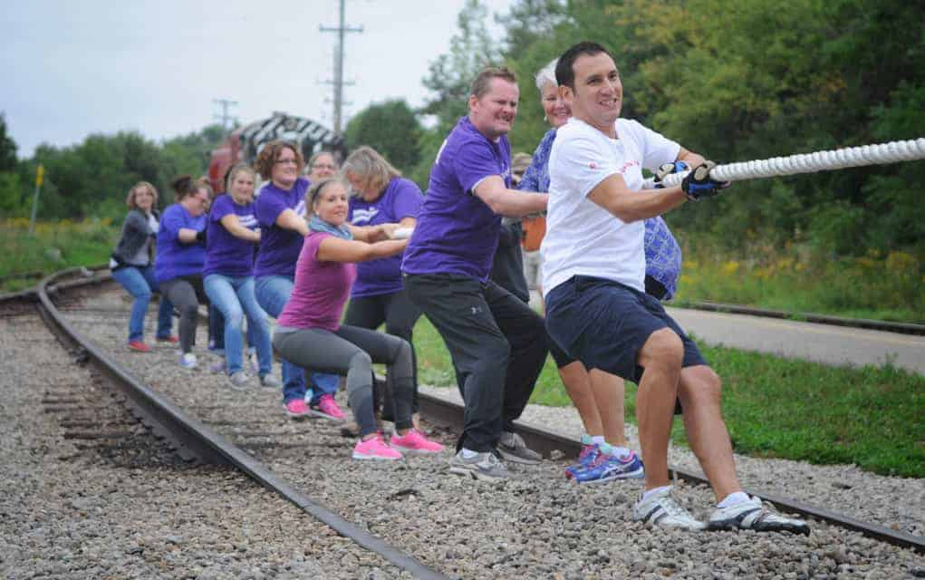 Teams came together on Sept. 23 at the Waterloo Central Railway train station in St. Jacobs for a train pull to kick off the United Way of Kitchener-Waterloo & Area's 2016-17 campaign.