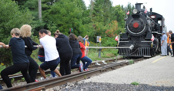 Teams came together on Sept. 23 at the Waterloo Central Railway train station in St. Jacobs for a train pull to kick off the United Way of Kitchener-Waterloo & Area's 2016-17 campaign. Their campaign goal is $5.1 million.[Whitney Neilson / The Observer]