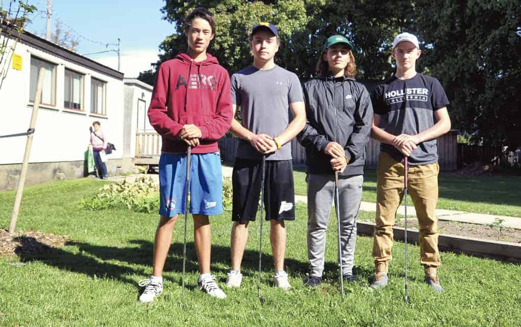 Elmira District Secondary School's golf team, Isiah Katsube, Tyler Townsend, Alex Turchan and Jake Code, will be hitting the links in Port Elgin this week after a impressive finish at Rebel Creek last week.