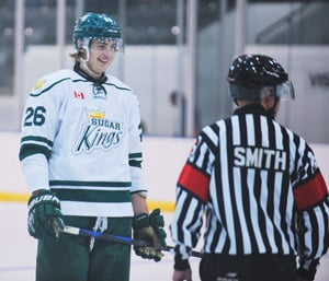 """Spencer Comelli is the most recent addition to the Elmira squad. The 19-year-old defenseman stands 6'6"""". [Whitney Neilson / The Observer]"""