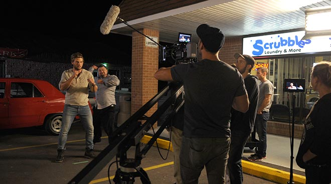 Conestogo-based film company High Rise Studio filmed scenes for three nights this week at Scrubbles in Elmira for their upcoming film, Transference. It's described as a supernatural thriller and is being filmed all over Waterloo Region.[Whitney Neilson / The Observer]