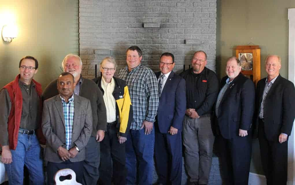 Kitchener-Conestoga MP Harold Albrecht held an environment roundtable in St. Agatha on Oct. 13 to engage with experts in the agricultural and forestry sectors about preserving the environment. From left, Craig Martin, Dr. Naresh Thevathasan, Fred Wagner, Lorne Small, Craig Shantz, Harold Albrecht, Gord Grant, Mayor Les Armstrong, Philip Holst. [Submitted]