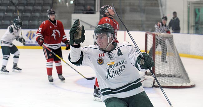 Jake Brown celebrates after scoring the Sugar Kings' third goal of the night against the Cambridge Winter Hawks at home on Nov. 6. The game was Elmira's twelfth straight win.[Whitney Neilson / The Observer]
