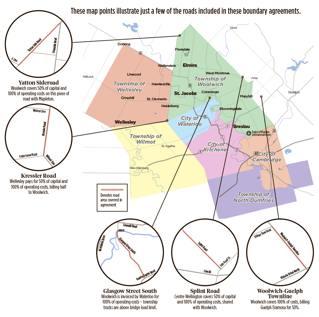 These map points illustrate just a few of the roads included in these boundary agreements.