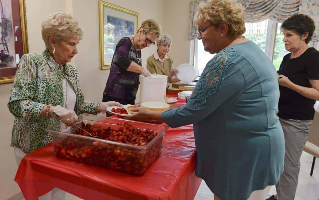 Betty Densmore, Brenda Cressman and Darlene Aberle served up some seasonal treats at the Chateau Gardens Auxiliary largest annual fundraiser June 22 at the Chartwell Elmira Retirement Residence.