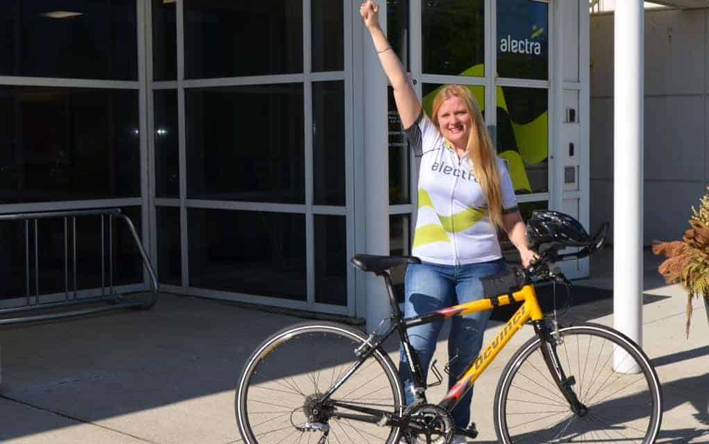 Cynthia Kenth at this year's Enbridge Ride to Conquer Cancer, which took place over the weekend. She cycled 200-km on a tandem bike. [Submitted]