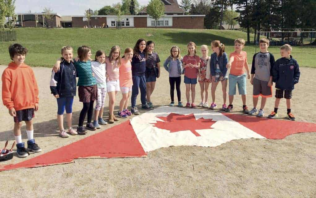 St. Jacobs Public School Grade 4 students partnered with St. Jacobs - Home Hardware to paint a kite in celebration of Canada's 150th birthday. [Submitted]