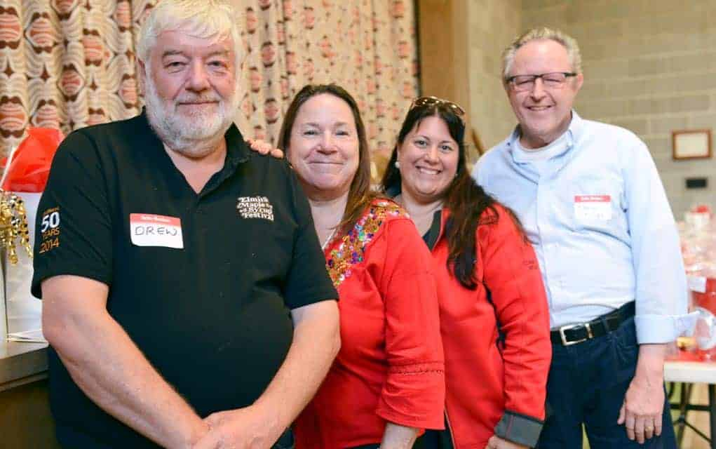 Drew McGovern, Kim Dixon, Rose Rabidoux and Paul Stiles at the Elmira Maple Syrup Festival grant Disbursement event on June 8 at St. James Lutheran Church, where the group handed out $55,000 in grants to community groups. [Ali Wilson / The Observer]
