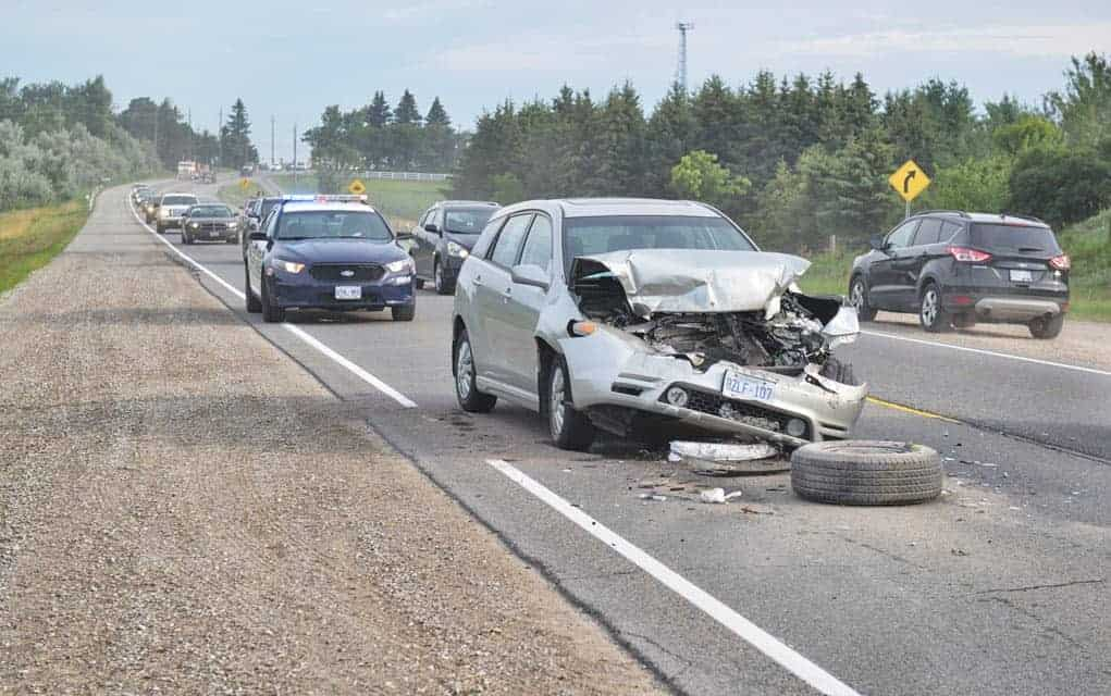 Two-vehicle collision north of roundabout slows morning commute