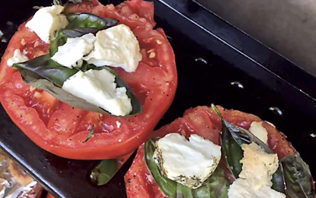 Grilled Tomato with Goat Cheese and Fresh Basil