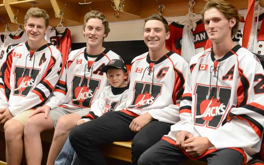 Spencer Brick (second from right) will wear the 'C' for the Wellesley Applejacks for the 2017/2018 season. He'll be joined by Shaun Pickering, Alex Uttley, Owen Gerber (stick boy) and Kyle Soper.