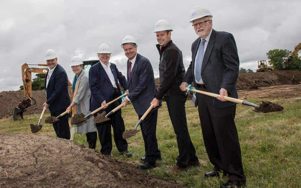 Huron Digital Pathology CEO Patrick Myles, board members Christine Chamberlain, Savvas Chamberlain, Mike Panayi, Frey Construction president Ryan Martin and board member Ted Dixon broke ground on the new building site on June 27 in St. Jacobs.