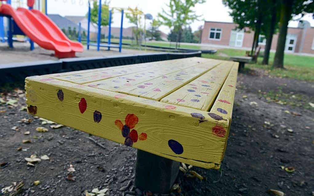 Wellesley PS opts for personal customization of playground buddy benches, getting everyone involved