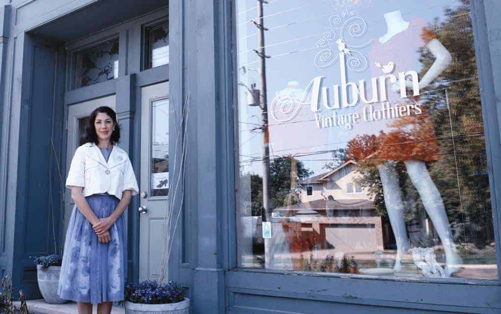 Rachel Behling out front of Auburn Vintage Clothiers, her Conestogo business that has been at the centre of the Sawmill Road closure for much of the year.