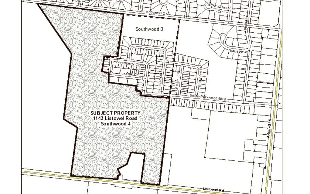 A map shows the area slated for development, an area in the southwest of Elmira between Whippoorwill Drive and Listowel Road.