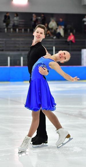 Wellesley residents Kieran MacDonald and Sophia Kagolovskya took home the silver medal at the Skate Canada Challenge event in Pierrefonds, QC just last month.
