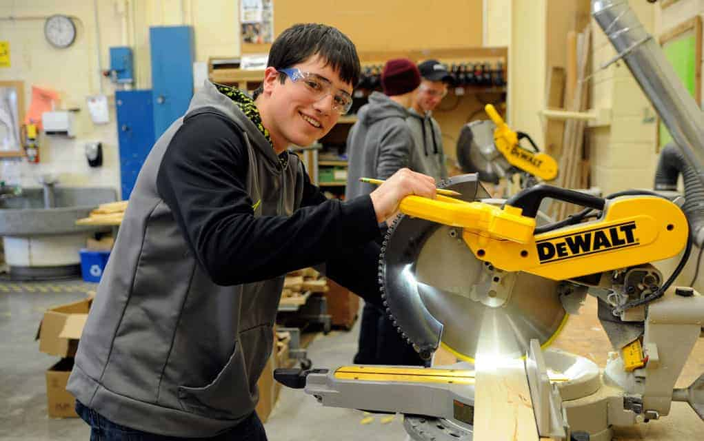 ELAWS student Trenton Martin at woodworking class on Monday. Martin attends school one to two days a week, and has the opportunity to work for the remainder.