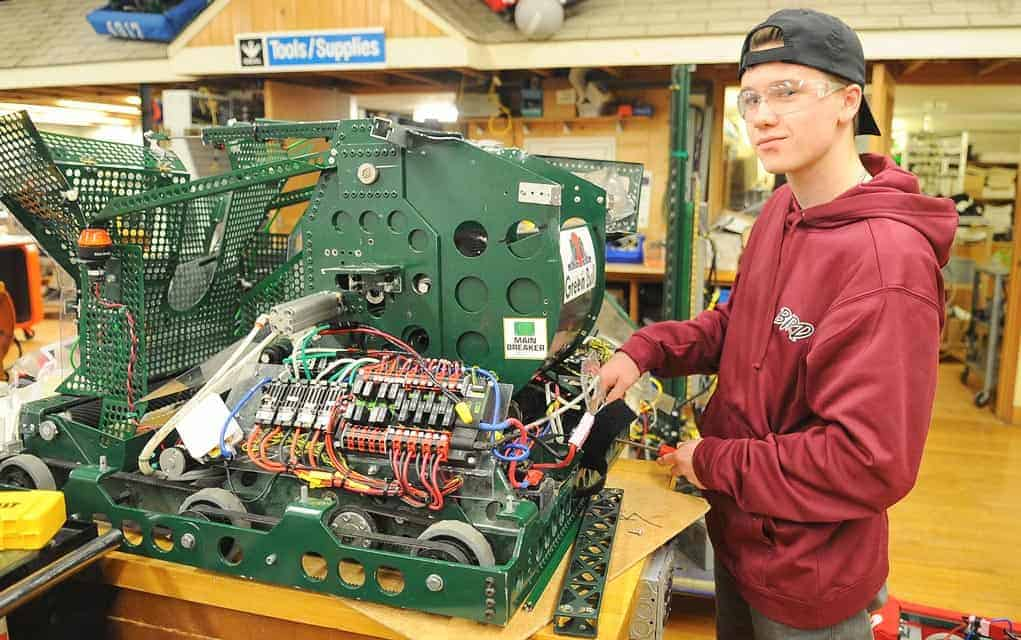 Hayden Fretz, a Grade 12 student, has been a member of the robotics team for the two years. After graduating, he hopes to go on to study mechanical engineering.
